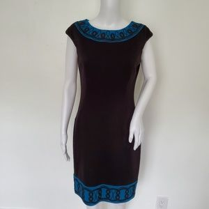 Maggy London Embroidered Hem Sheath Dress Size 8